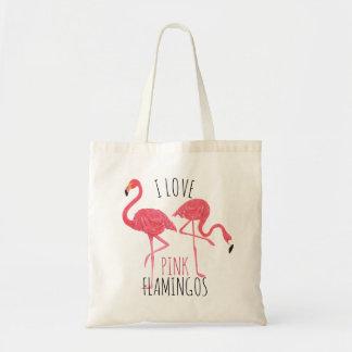 Amo los flamencos rosados texto y el ejemplo de bolso de tela