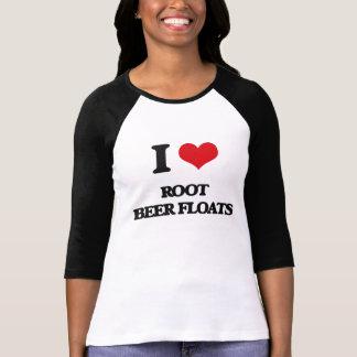 Amo los flotadores de cerveza de raíz camiseta