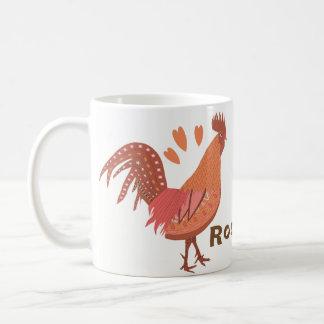Amo los gallos melocotón y rosa taza de café