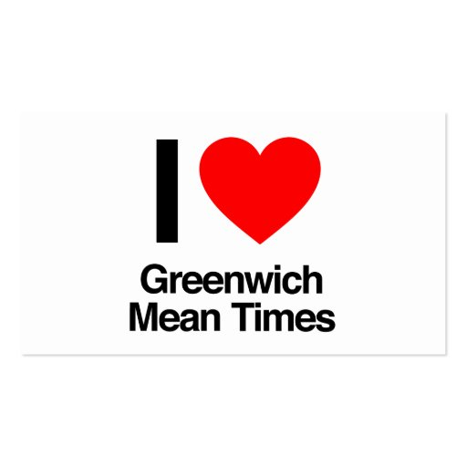 amo los Horario de Greenwich de Greenwich Tarjeta De Visita
