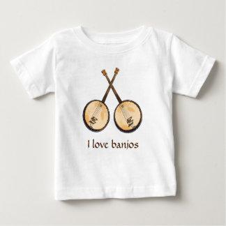 Amo los instrumentos de música del banjo camiseta de bebé