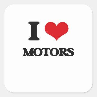 Amo los motores calcomanías cuadradass personalizadas