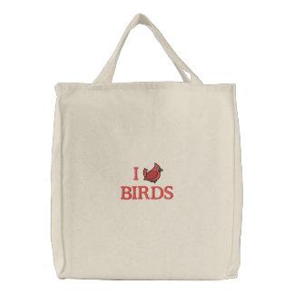 Amo los pájaros (cardinales) bolsa de tela bordada