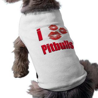 Amo los perros de Pitbull, besos del lápiz labial  Camiseta Sin Mangas Para Perro
