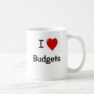 Amo los presupuestos - presupuestos del corazón de taza de café