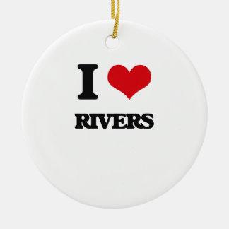 Amo los ríos adorno redondo de cerámica