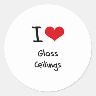 Amo los techos de cristal etiqueta redonda