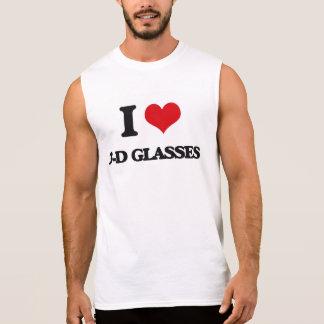 Amo los vidrios tridimensionales camisetas sin mangas