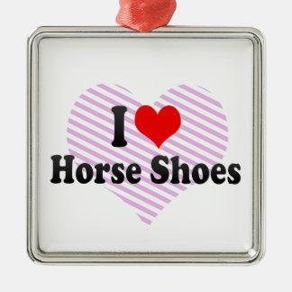 Amo los zapatos del caballo ornamento de navidad