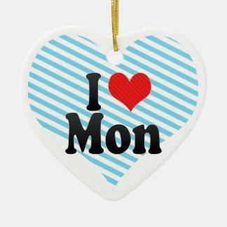 Amo lunes adorno de cerámica en forma de corazón