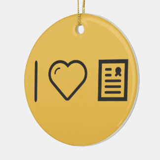 Amo marcos del diploma adorno navideño redondo de cerámica