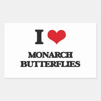 Amo mariposas de monarca pegatina rectangular