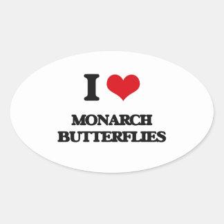 Amo mariposas de monarca pegatina ovalada
