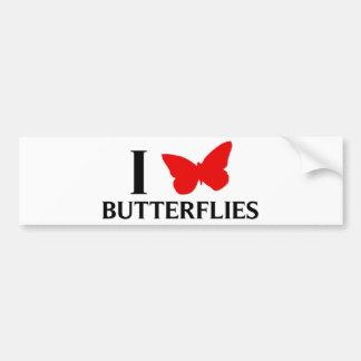 Amo mariposas pegatina de parachoque