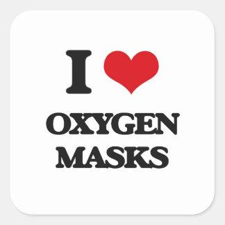 Amo máscaras de oxígeno pegatina cuadrada
