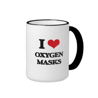 Amo máscaras de oxígeno taza a dos colores