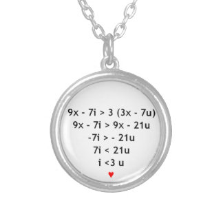 ¡Amo matemáticas! Collar Plateado