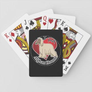 Amo mi afgano divertido y lindo adorable feliz baraja de cartas