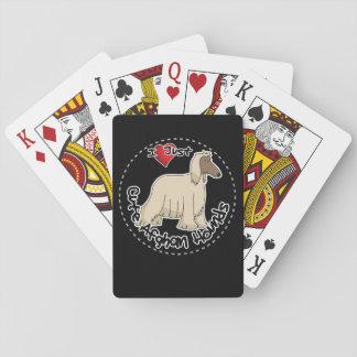 Amo mi afgano divertido y lindo adorable feliz barajas de cartas