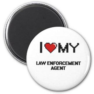 Amo mi agente de aplicación de ley imán redondo 5 cm