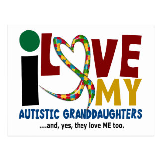 Amo mi AUTISMO autístico de las nietas 2 Tarjeta Postal