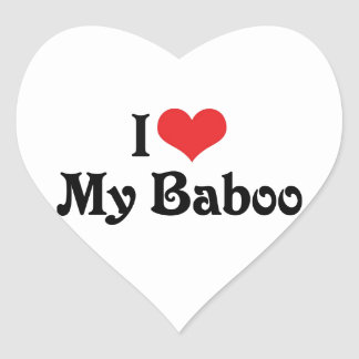 Amo mi Baboo Pegatina En Forma De Corazón