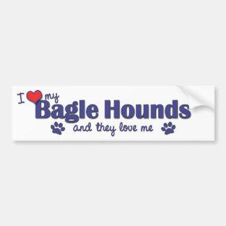 Amo mi Bagle persigo (los perros múltiples) Etiqueta De Parachoque