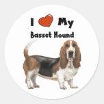 Amo mi Basset Hound Pegatinas Redondas