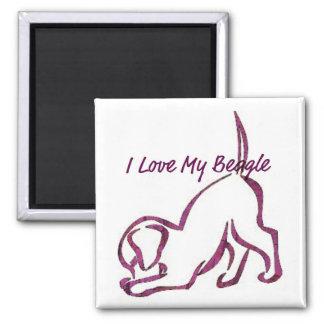 Amo mi beagle imán cuadrado