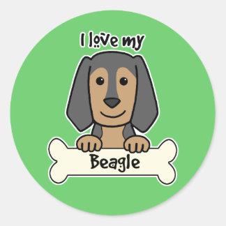 Amo mi beagle pegatina redonda