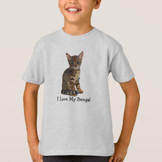 Amo mi Bengala, gatito en lápiz del color Camiseta