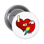 Amo mi botón del Macaw del escarlata Pins