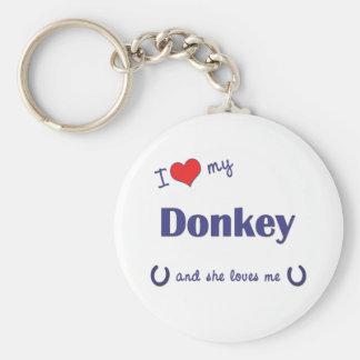 Amo mi burro (el burro femenino) llavero redondo tipo chapa