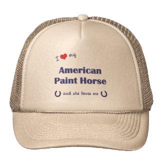 Amo mi caballo americano de la pintura (el caballo gorro