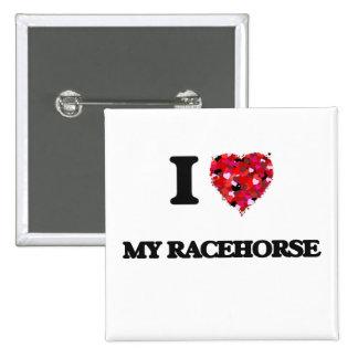 Amo mi caballo de carreras chapa cuadrada 5 cm