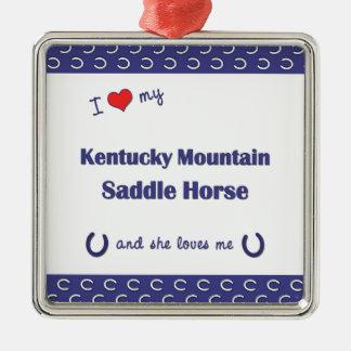 Amo mi caballo de silla de montar de la montaña de adorno cuadrado plateado