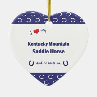Amo mi caballo de silla de montar de la montaña de adorno de cerámica en forma de corazón