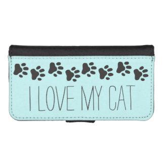 Amo mi caja de la cartera del iPhone 5 del gato