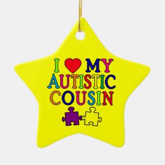 Amo mi camiseta autística del primo adorno navideño de cerámica en forma de estrella
