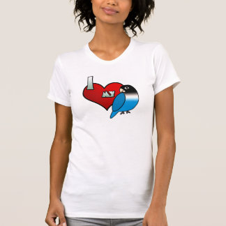 Amo mi camiseta enmascarada del Lovebird del negro