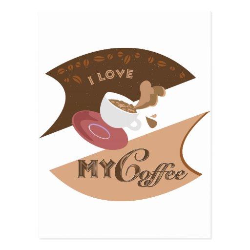 Amo mi chapoteo retro de Java del comensal del caf Postales