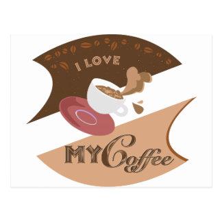 Amo mi chapoteo retro de Java del comensal del caf Tarjeta Postal