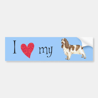 Amo mi cocker spaniel inglés etiqueta de parachoque
