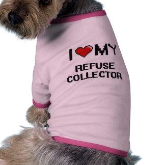 Amo mi colector de basura camiseta con mangas para perro