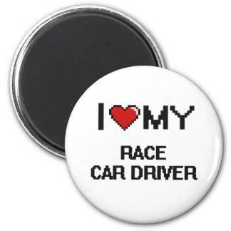 Amo mi conductor de coche de carreras imán redondo 5 cm