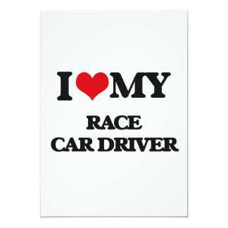 Amo mi conductor de coche de carreras invitación 12,7 x 17,8 cm