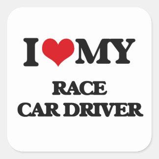 Amo mi conductor de coche de carreras pegatina cuadrada