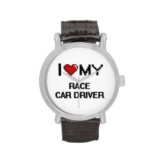 Amo mi conductor de coche de carreras relojes