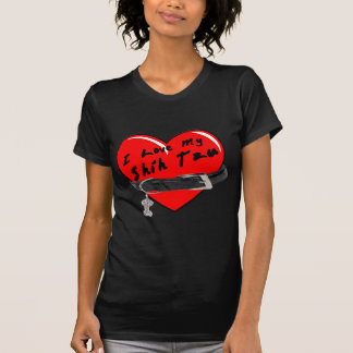 Amo mi corazón de Shih Tzu con el cuello de perro Camiseta