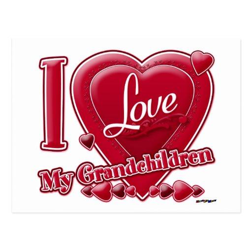 Amo mi corazón rojo de los nietos - foto postal